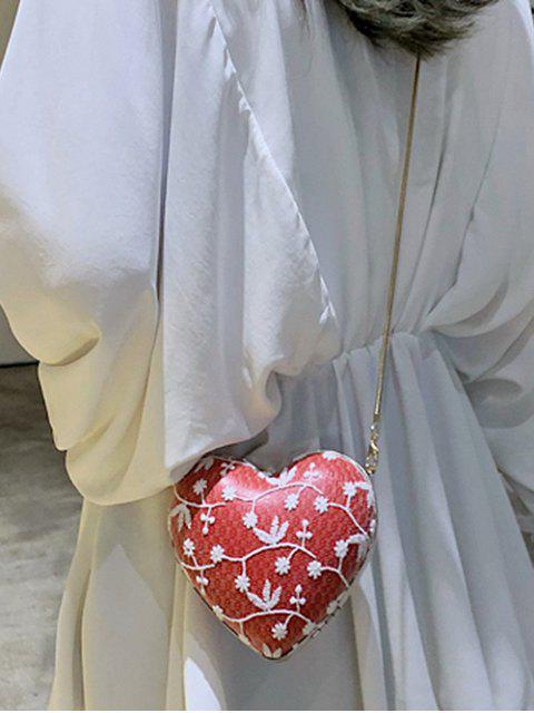 best Flower Pattern Chain Heart Crossbody Bag - RED  Mobile