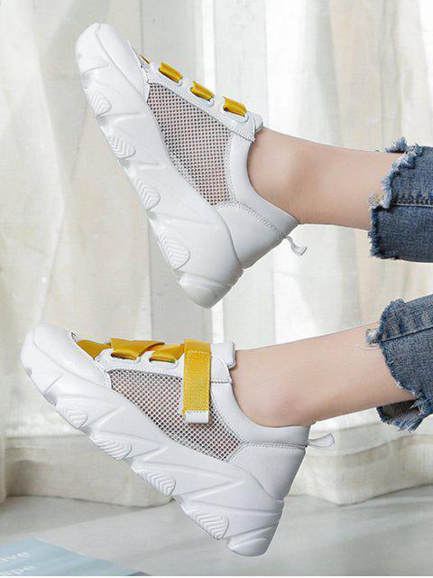 outfit Contrast Color Mesh Flat Platform Shoes - YELLOW EU 36 Mobile