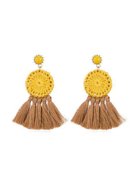 fashion Ethnic Woven Round Tassel Earrings - YELLOW  Mobile