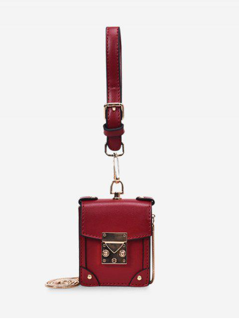 fancy Chain Strap PU Crossbody Bag - RED WINE  Mobile