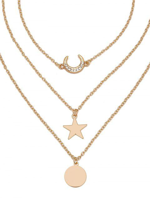 hot Layered Moon Star Disc Pendant Necklace - GOLD  Mobile