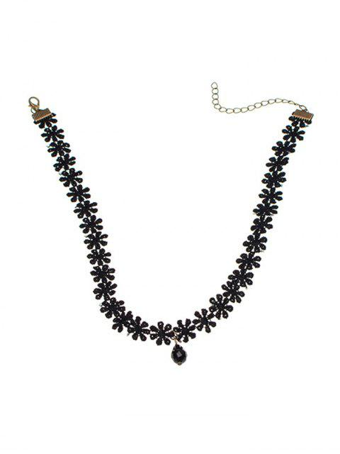 trendy Floral Choker Necklace with Faux Gemstone - BLACK  Mobile