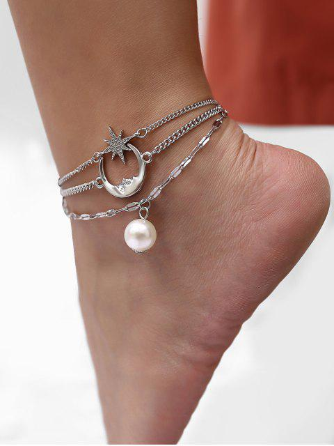 buy Moon Star Faux Pearl Multilayered Anklet - SILVER  Mobile