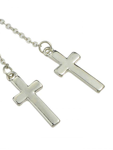 fancy Cross Long Chain Earrings - SILVER  Mobile