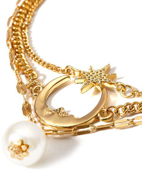 buy Moon Star Faux Pearl Multilayered Anklet - GOLD  Mobile