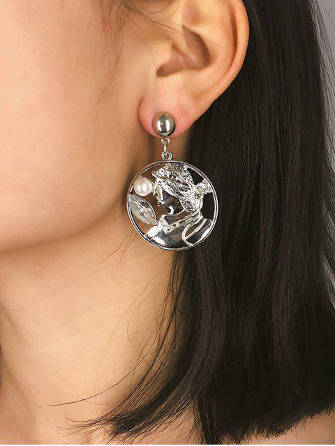 women's Creative Portrait Faux Pearl Earrings - SILVER  Mobile