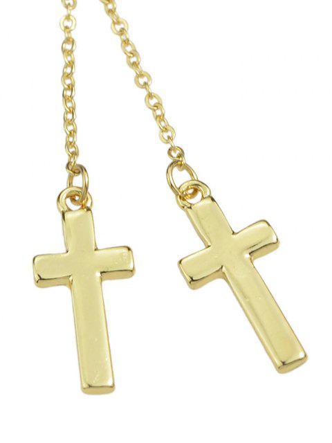 lady Cross Long Chain Earrings - GOLD  Mobile