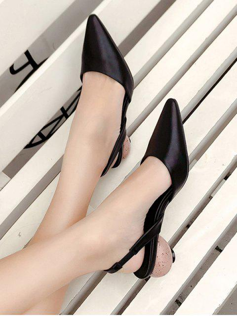 unique Pointed Toe Strange Heel Slingback Sandals - BLACK EU 37 Mobile