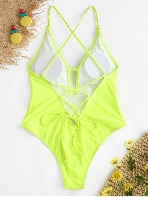 latest ZAFUL Lace-up Criss Cross Swimsuit - GREEN YELLOW S Mobile