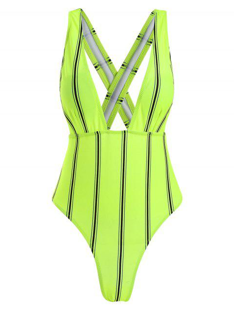 trendy ZAFUL Striped Criss Cross Plunging Swimsuit - MULTI-B S Mobile