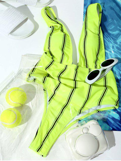 fashion ZAFUL Striped Criss Cross Plunging Swimsuit - MULTI-B M Mobile