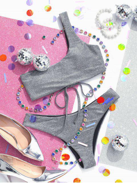 chic ZAFUL Lace Up One Shoulder Sparkle Bikini Set - GRAY CLOUD L Mobile