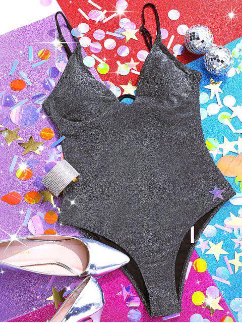 ZAFUL Knotted Back Underwire Sparkle traje de baño - Plata L Mobile