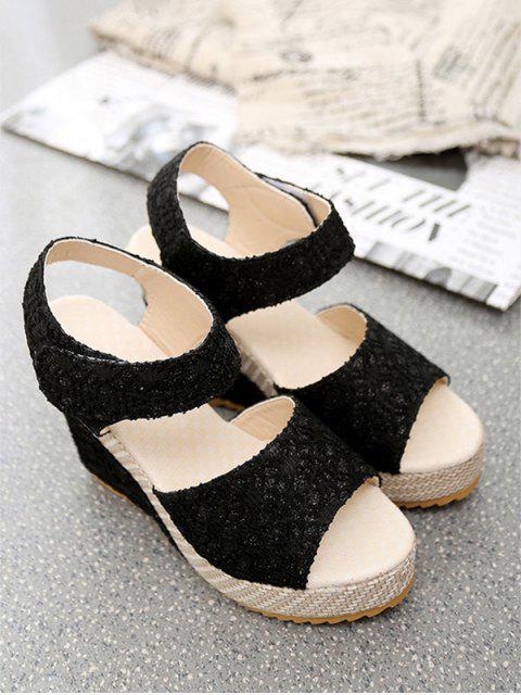 unique Chic Lace Design Wedge Heel Sandals - BLACK EU 38 Mobile