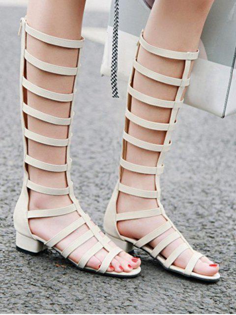 buy Chunky Heel High-top Design Boots - WHITE EU 40 Mobile