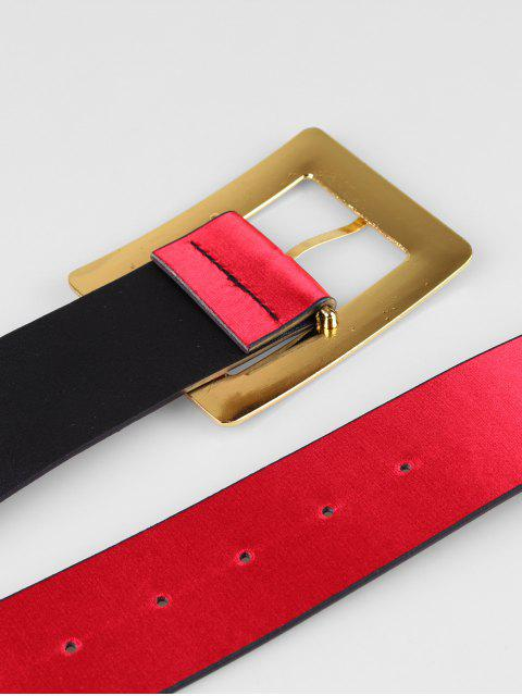 best Wide Rectangle Buckle Belt - RED  Mobile