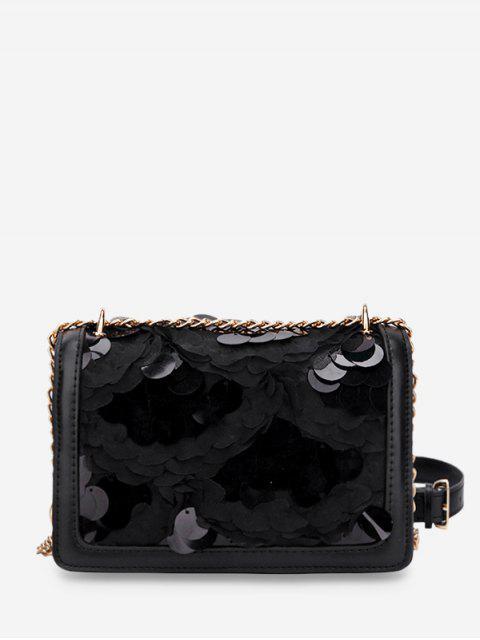 outfit Round Disc Design Crossbody Bag - BLACK  Mobile
