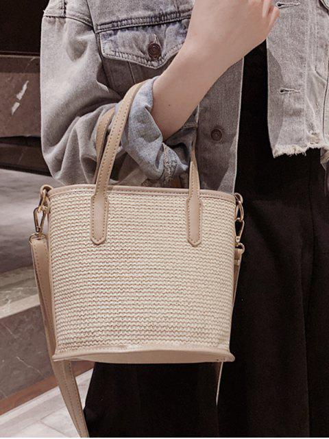 shops Large Capacity Woven Shoulder Bag - BEIGE  Mobile
