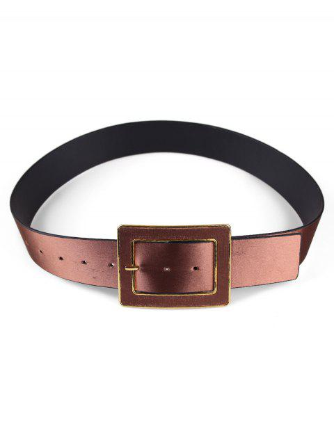 affordable Wide Rectangle Buckle Belt - COFFEE  Mobile