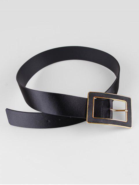 latest Wide Rectangle Buckle Belt - BLACK  Mobile