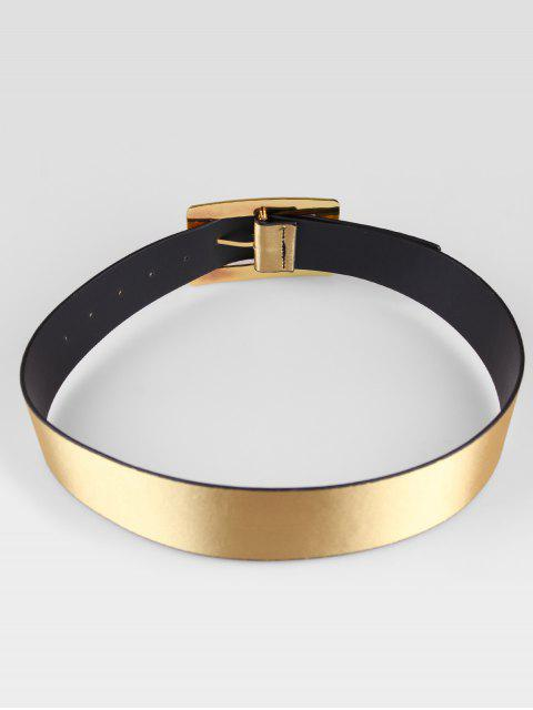 chic Wide Rectangle Buckle Belt - GOLD  Mobile