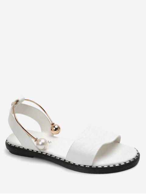 outfits Faux Pearl Decoration Leisure Sandals - WHITE EU 40 Mobile