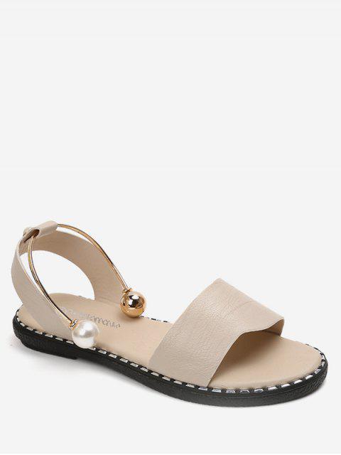 sale Faux Pearl Decoration Leisure Sandals - BEIGE EU 40 Mobile