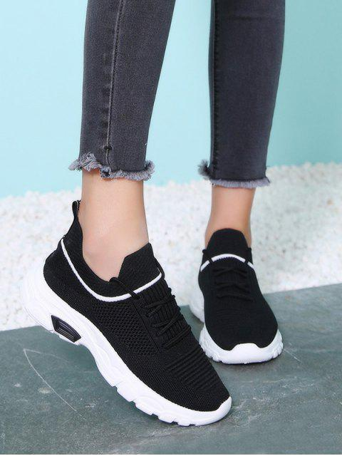 affordable Leisure Lace-up Design Sport Sneakers - BLACK EU 38 Mobile