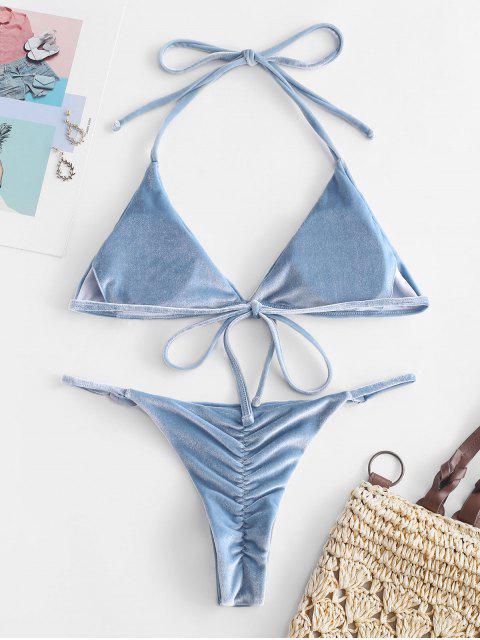 online ZAFUL Velevt Halter String Bikini Set - JEANS BLUE S Mobile