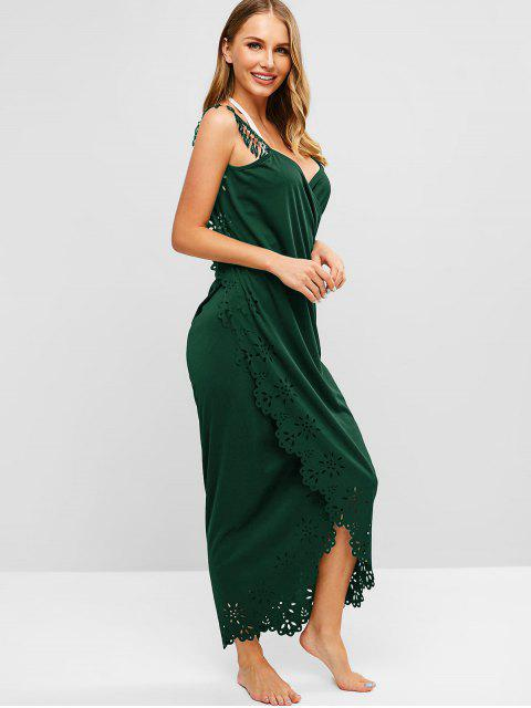 shops Laser Cut Fringed Wrap Dress - MEDIUM SEA GREEN ONE SIZE Mobile