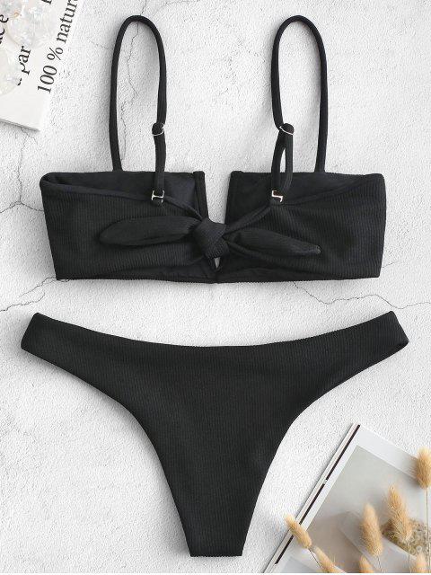 Bikini de canalé acanalado con nudo en forma de V de nudo - Negro S Mobile
