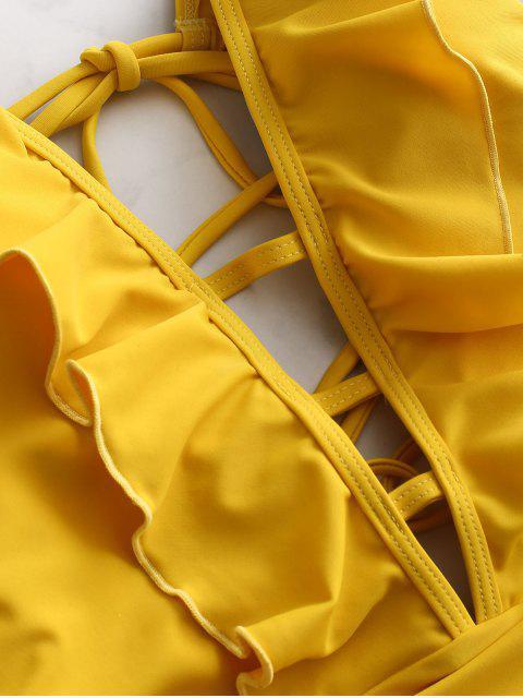 ZAFUL Перекрестные шнурки С оборкой Купальник - Пчела-желтый S Mobile