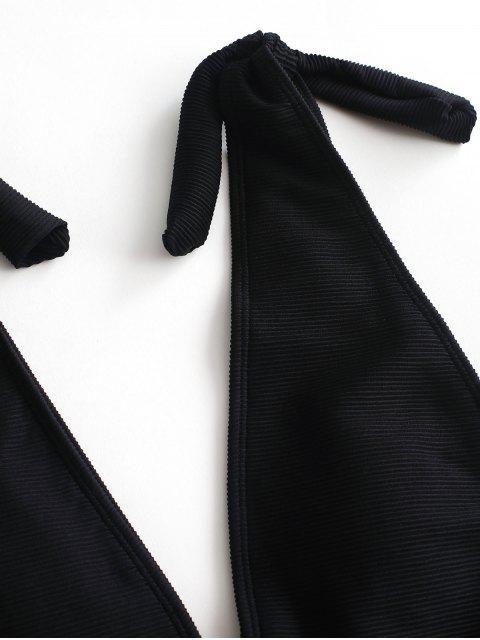 ZAFUL Knot traje de baño acanalado con textura acanalada - Negro XL Mobile