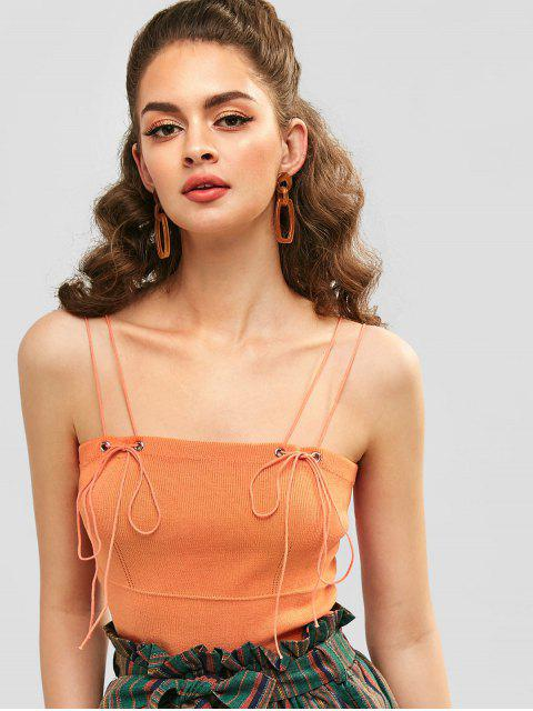 outfits Knitted Self Tie Camisole - BASKET BALL ORANGE ONE SIZE Mobile