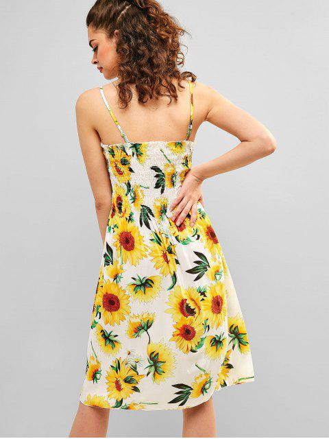 trendy Cami Sunflower A Line Shirred Dress - WHITE ONE SIZE Mobile