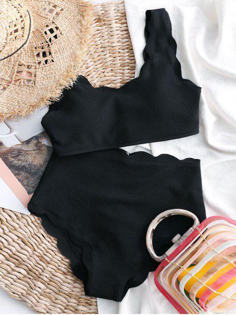 ladies ZAFUL Scalloped Textured High Waisted Bikini Set - BLACK XL Mobile