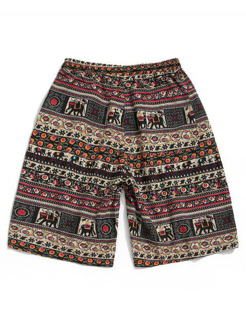 latest Floral Graphic Tribal Print Drawstring Shorts - MULTI M Mobile