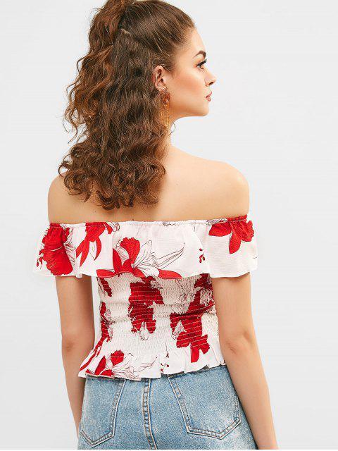 Blouse Fleurie Imprimée à Epaule Dénudée à Volants - Blanc Taille Unique Mobile