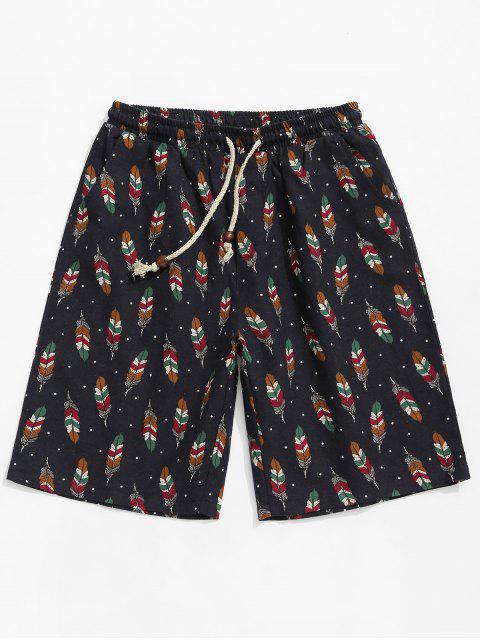 Shorts con lazo y estampado de plumas de lunares - Multicolor L Mobile