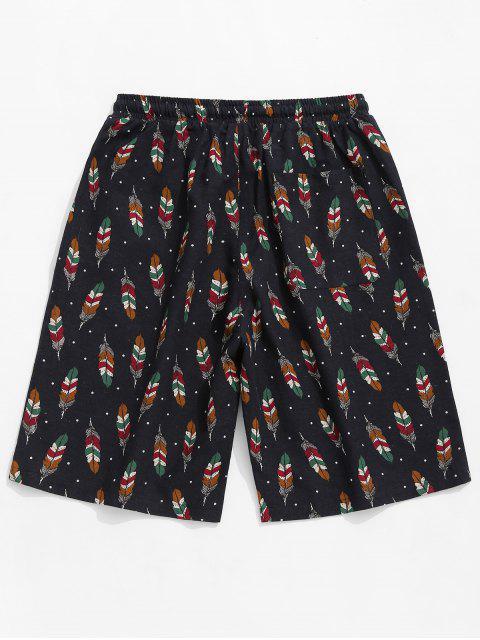 Shorts con lazo y estampado de plumas de lunares - Multicolor 4XL Mobile