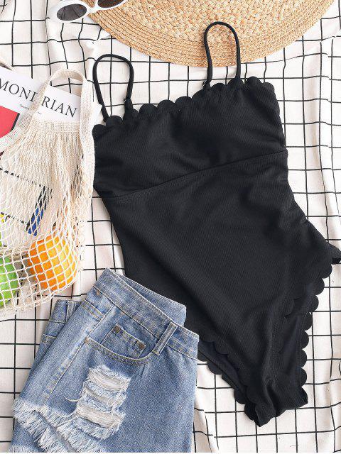 ZAFUL羅紋扇形卡米泳裝 - 黑色 XL Mobile