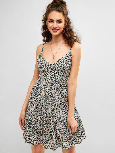 f6583206a15 ZAFUL Smocked Back Tiny Floral Cami Dress - Dark Slate Blue - Dark Slate  Blue L