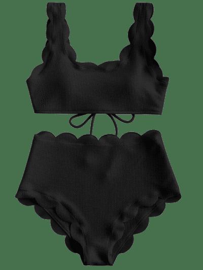ZAFUL Scalloped Textured High Waisted Bikini Set