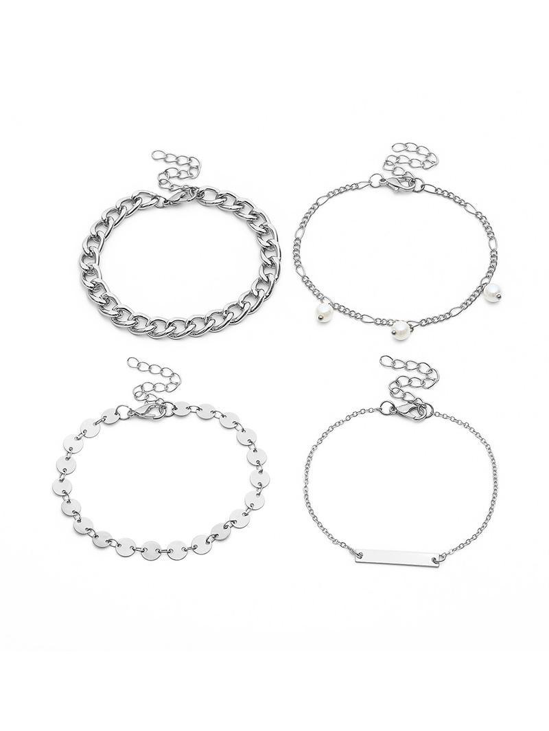 4Pcs Pearl Metal Chain Pattern Bracelet