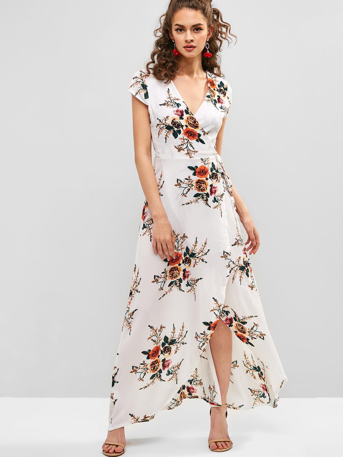Floral Print V Neck Maxi Wrap Dress, White