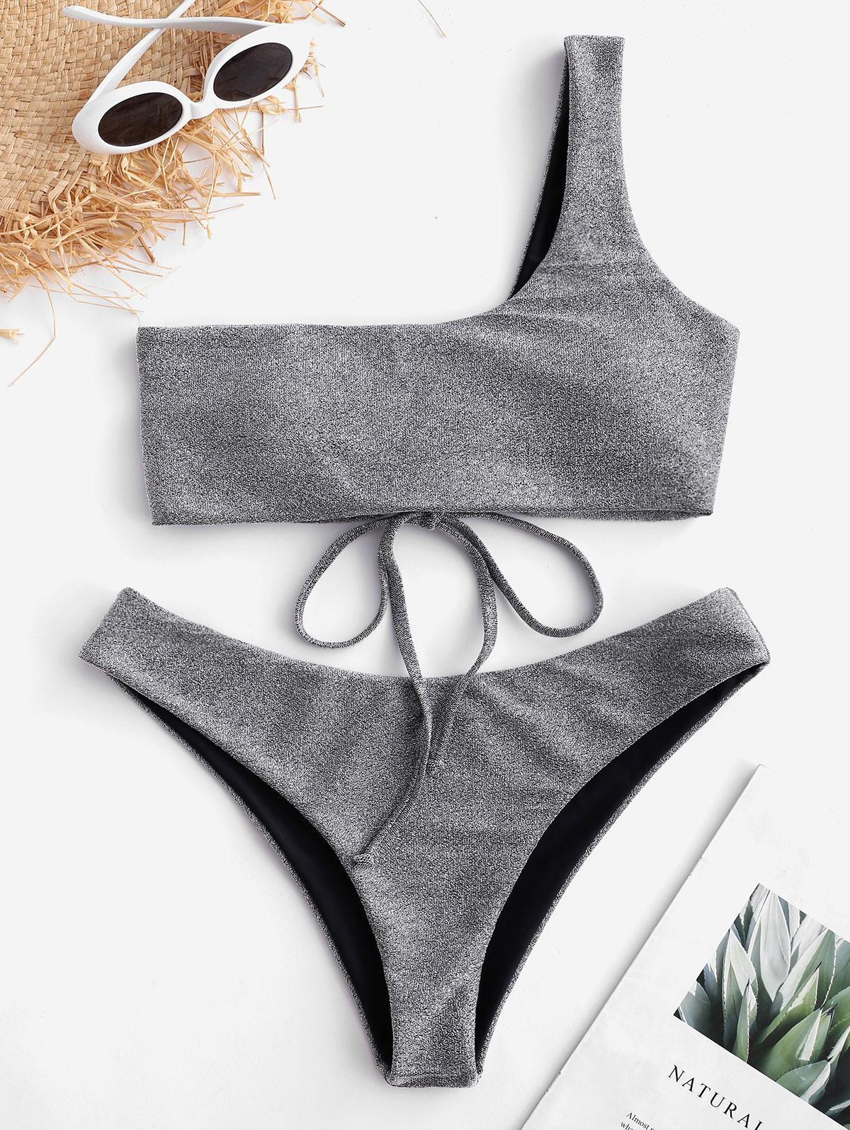 ZAFUL Lace Up One Shoulder Sparkle Bikini Set thumbnail