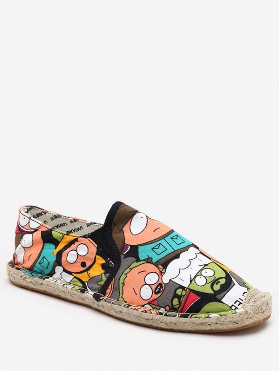 sale Cartoon Print Espadrille Loafer Shoes - BLACK EU 37