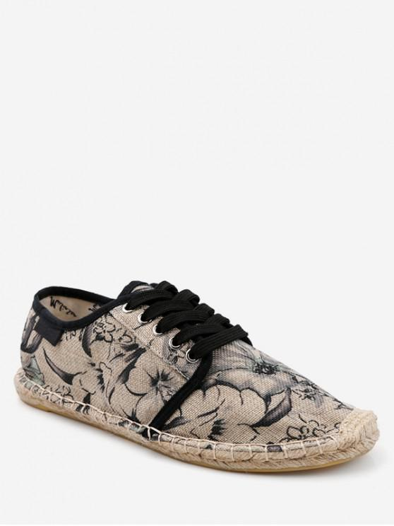 hot Flower Pattern Espadrille Shoes - BLACK EU 38