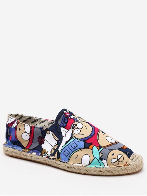 fashion Cartoon Print Espadrille Loafer Shoes - MARBLE BLUE EU 38