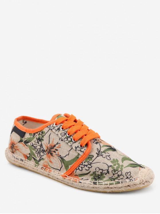 womens Flower Pattern Espadrille Shoes - TIGER ORANGE EU 42